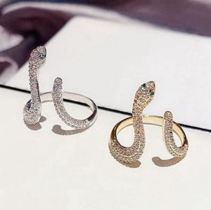 NEW GOLD PLATED DIAMOND PAVE SNAKE RING